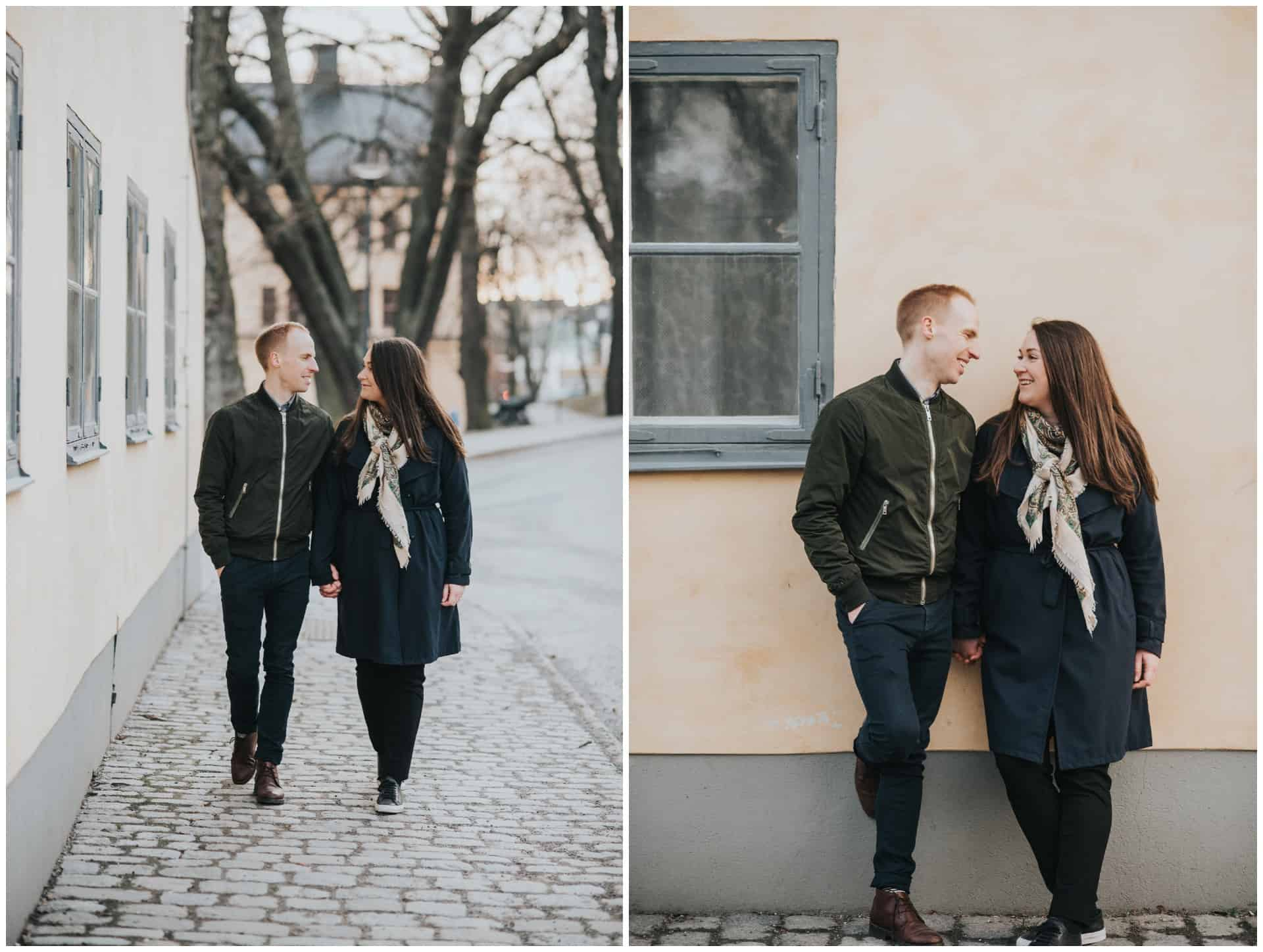 Couples session on a chilly day in Stockholm, parfotografering på Skeppsholmen, Stockholm, Hotel Skeppsholmen