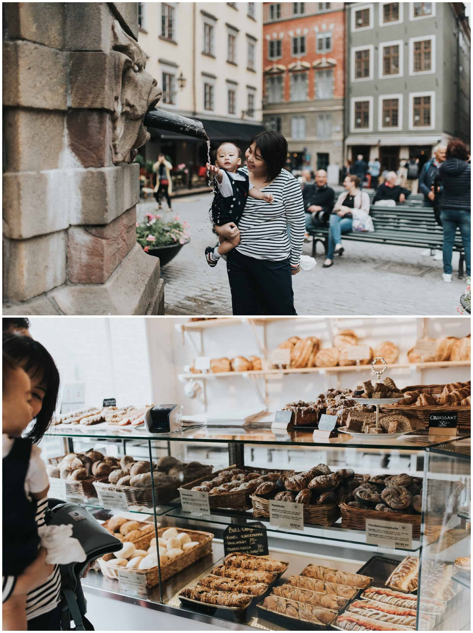 family from Singapore visiting Stockholm, family photography Stockholm, Gamla Stan, Kanelbullar