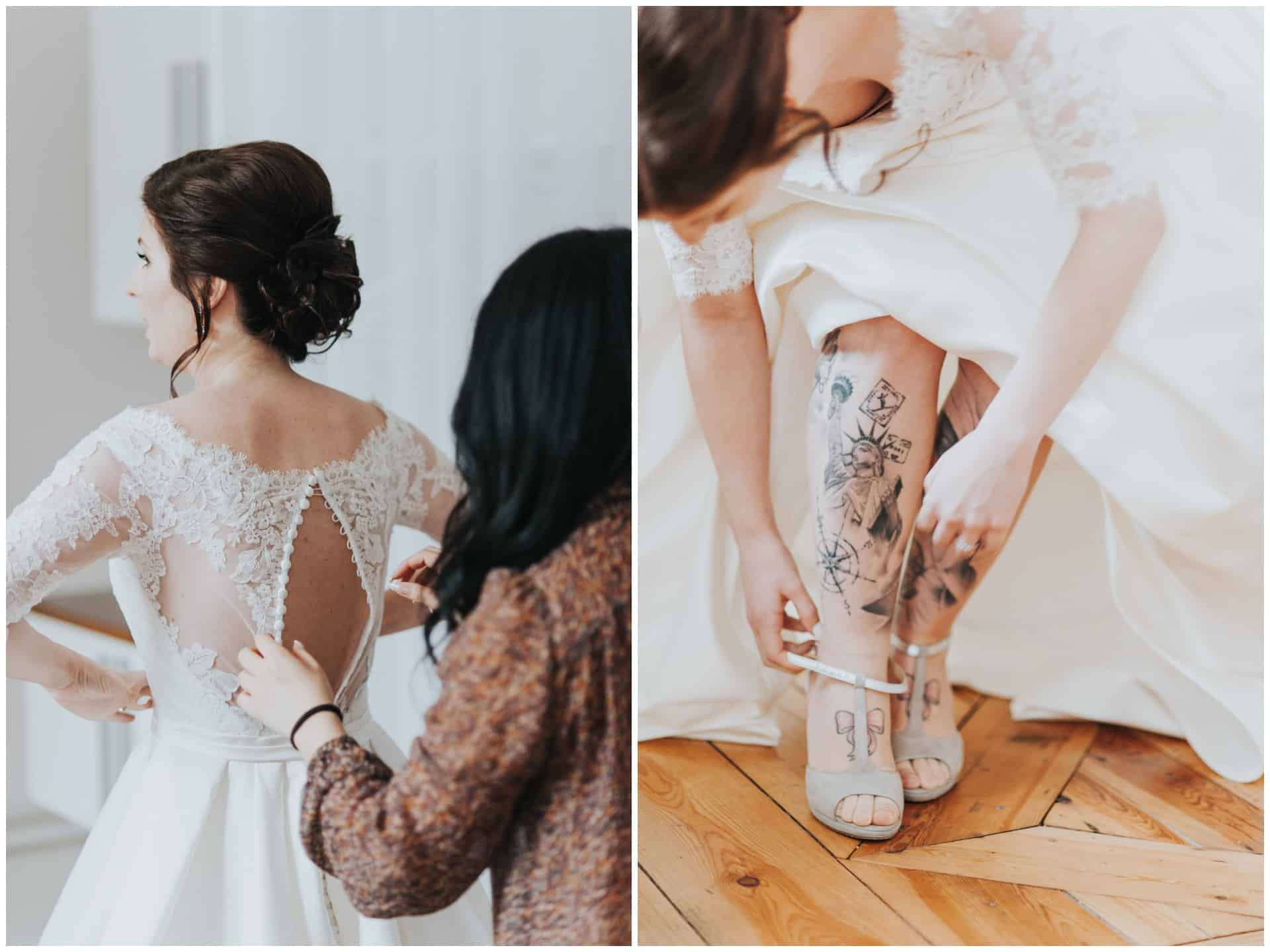 tatooed bride, tatoo wedding, Södermalm wedding, tatuerad brud